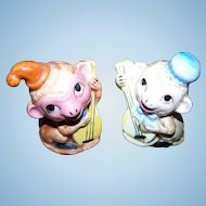 Sweet Little Monkey Wearing Hats Playing Musical Instrument Salt & Pepper Spice Shakers
