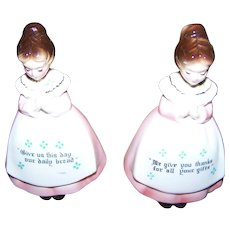 Charming Kitchen Prayer Ladies Salt & Pepper Motto Shakers Enesco Japan