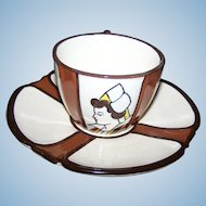VTG Breakfast Cup & Saucer Set Polychrome Earthenware