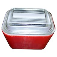 Mid-Century Small Red Pyrex 501 Refrigerator Dishes Primary Color Made in USA