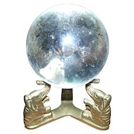 Wonderful Home Decor Accent Lucky Trunk Up  Brass Stand With Glass Controlled Bubble Paper Weight