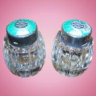 AS IS Meka Denmark Sterling Silver Guilloche Enamel & Crystal Salt & Pepper Shakers