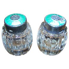 AS IS Meka Denmark Sterling Silver Guilloche Enamel & Crystal Salt & Pepper Shakers