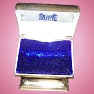 Vintage Golden Metalware Ring Presentation Advertising Coffin Shaped Box TRU-LOVE
