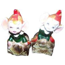 VTG Ceramic  1960's Japan Figural Pixie Elf Christmas Salt & Pepper Spice  Shaker Set