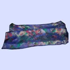 Beautiful Delicate Sheer Floral Pattern Ladies Fashion Accessory Scarf Wearable ART