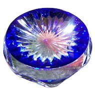 Exceptional Signed Crystal  Baccarat Art Glass Paperweight Multi Faceted Star Cut Cobalt Blue Base