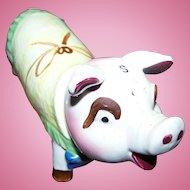 A Fabulous Figural Piggy Pig Salt & Pepper Ceramic Spice Shaker OINK Oink OINK