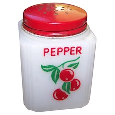 Small Milk Glass Pepper Shaker  by  Tipp City  Cherry Motif Red Metal Lid