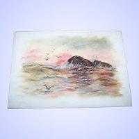 Lovely VTG Hand Painted Scene Water Rocks Sky Birds on a Milk Glass Panel