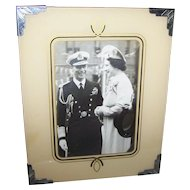 Reversed Glass Painted Frame  with B&W Photo  Queen Mother Elizabeth and King George VI  E.I. Bishop  Grand Falls NFLD