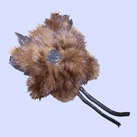 A Lovely Deco Era Mink Fur  & Leather Flower Pin / Brooch