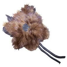 A Lovely Deco Era Mink Fur  & Leather Flower Pin / Brooch