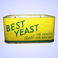 VTG Best Yeast / Levure Best Wall Counter  Store Display Tin Litho ADVERTISING Wall Storage Box
