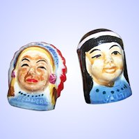 Vintage Hand Painted Native American Salt & Pepper Spice Shakers JAPAN