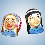 Vintage Hand Painted Native American Salt & Pepper Spice Shakers JAPAN