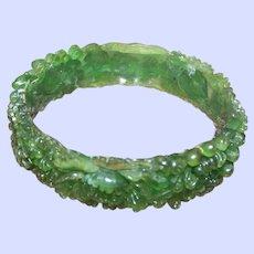 Wear A Flower Garden on Your Wrist Heavily Molded Celluloid Floral Themed Bangle Bracelet