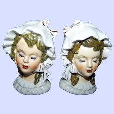 Sweet Ceramic Figural Hand Painted Pretty Bonnet Lady Salt & Pepper Spice Shakers