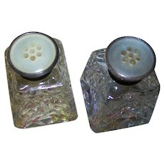 Small Brilliant Cut Crystal Salt and Pepper Shakers Button Style MOP Lids and Stamped Birks Sterling Sterling