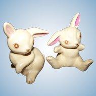Charming Vintage Bunny Rabbit Figural Salt & Pepper Spice Shakers JAPAN