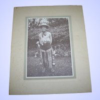 VTG Sepia Photograph Cabinet Card Little Boy in Western Co