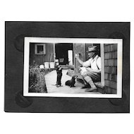 Vintage B&W Photograph Depression Era Gentleman with Kitty Cat and Dachshund Puppy Dogs