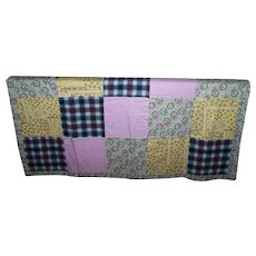 Vintage Lap Style Quilt Blanket Featuring Patches Bunny Rabbit Bird Leaf Vine Flower Theme