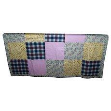 Vintage Lap Style Quilt Blanket Featuring Patches Bunny Rabbit Bird Leaf Vine Flower Theme