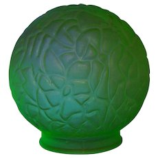 Deco Era Green Uranium Glass Glow Under Black Light Light Globe Shade