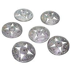 Lot of 6 Collectible Vintage  1 1/4 Inch Silvertone Metal Filigree Buttons