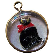 Charming Little Reverse Painted Glass Intaglio Black Kitty Cat Charm