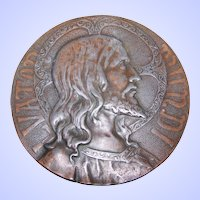 Vintage Religious Themed Metal Wall Plaque LVATOR MUNDI Christ Jesus Saviour of the World