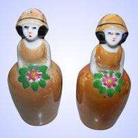 Vintage Art Deco  Era Un-stamped Noritake Old Japan Lusterware Flower Girl Salt Pepper Spice Set