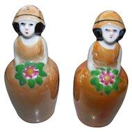 Vintage Art Deco  Era Un-stamped Noritake Old Japan Lusterware Flower Girl Salt Pepper Spice Se