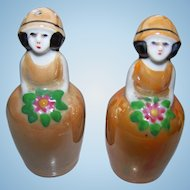 Vintage Art Deco  Era Un-stamped Noritake Old Japan Lusterware Flower Girl Salt Pepper Spice Se