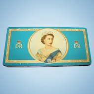 Vintage Queen Elizabeth II Souvenir Coronation Advertising Tin 1953 Meredith & Drew LTD England