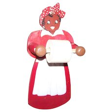 Circa 1940's era  Hand Painted Wood Wooden Aunt Jemima Style Black Americana Collectible