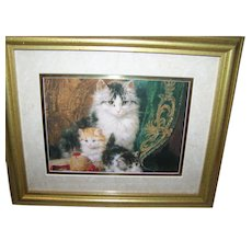 Charming Framed Print Featuring Mommy Cat and Kittens Wall Decor