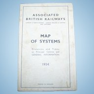 Associated British Railways Map of Systems London & Scotland 1934 Printed in England