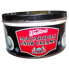 Advertising Tin Litho Can WESTON'S Macaroons Snow Creams  English Quality Biscuits Canada