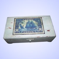 A Canadian Themed Up-Cycled Old Wooden Storage Box Featuring a Printed 50C Stamp Blue Nose Schooner Themed