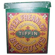 Small VTG Advertising Countertop Paper Label Peek Frean Celebrated London  Tiffin Biscuits Advertising Tin Can Box Container