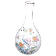 Wedgwood Bone China Small Vase Made in England Kutani Crane