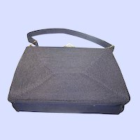Black CORDE Ladies Deco Era Fashion Purse Hand Bag Gold Seal MI Canada