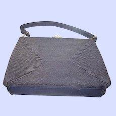 Black CORDE Ladies Deco Era Fashion Purse Hand Bag Gold Seal MI Canada