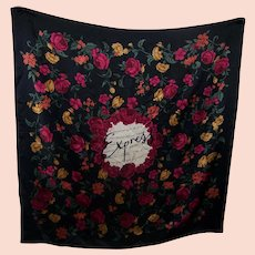 """A Vintage Express Silk 35 """" Silk Scarf Made in Korea Floral l'amour  Motto Themed"""