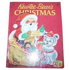 "Hard Cover Children's Book "" Kewetee Bear's Christmas "" Wonder Book Washable Covers"