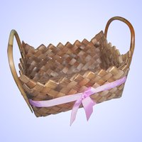 A Vintage Folk Art Mikmaq Hand Crafter Woven Basket with Handles Found in Nova Scotia Canada
