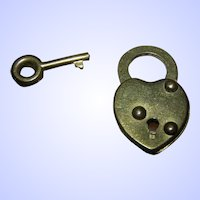 Sweet Vintage Made in Canada  Heart Shaped Pad Lock with Original Key