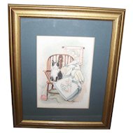 Lovely Framed Kitty Cat Print Artist Signed JF Poland  Home Decor Wall ART Accent